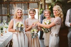 cream bridesmaids