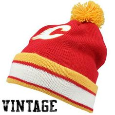 finest selection 28cd8 7bf0a NHL Mitchell   Ness KE84 Jersey Stripe Cuffed Pom Knit Beanie Calgary  Flames by Mitchell