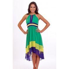 Green/Purple/Yellow Color Block High Low Halter Top Dress $39.99