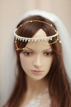 Bridal rhinestone halo, pearl beads tiara,swarovski crystals with swags,- Golden crown with swags