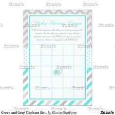 Green and Gray Elephant Girl Baby Shower Bingo Card