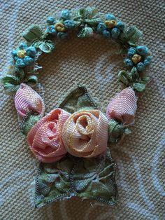 Antique Ribbonwork Applique Floral Wreath Roses Forget me nots Original 1910s Silk  via Etsy.