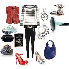 Sailor Outfit, created by holidayhottie.polyvore.com Sailor Outfits, Preppy, Nautical, Shoe Bag, My Style, Polyvore, Collection, Shopping, Shoes