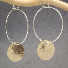 Mixed metal hoop disc earrings Nouveau 236 by CalicoJunoJewelry