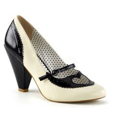 Pinup Couture Poppy Heart Mary Jane Pump Black Cream – The Atomic Boutique