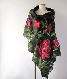 Nuno Felted scarf   rose red green flower by galafilc on Etsy, $108.00