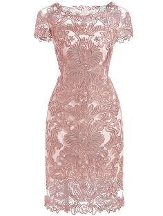 Pink Round Neck Short Sleeve Bodycon Lace Dress