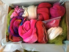 something for Fibre lovers, wet and needle felting, weaving and spinning! Our handpicked luxury fibres on a bed of lichen green Mountainsheep batts Needle Felting Kits, Fiber, Weaving, Luxury, Box, Green, Gifts, Snare Drum, Presents