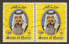 Qatar 1984; showing Sheikh Khalifa (bin Hamad bin Abdullah bin Jassim bin Mohammed Al Thani - to give him his full title..a lot of bins).  Came to power in 1972 and was disposed by his son in a coup (sound familiar?) in 1995. He passed away in 2016 but he does look a happy & contented man in this picture - and Rowan Atkinson has a vague resemblance (probably just me again).  AM