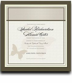 105 Square Wedding Invitations - Butterfly Shadow Taupe by WeddingPaperMasters.com. $276.15. Now you can have it all! We have created, at incredible prices & outstanding quality, more than 300 gorgeous collections consisting of over 6000 beautiful pieces that are perfectly coordinated together to capture your vision without compromise. No more mixing and matching or having to compromise your look. We can provide you with one piece or an entire collection in a one stop...