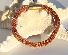 Copper metallic kumihimo bracelet with magnetic clasp on Etsy, $12.22