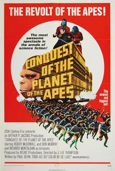 "Third sequel to the 1968 film ""Planet of the Apes"".  ""Conquest of the Planet of the Apes"" was released in 1972.  (blogged by amr)"