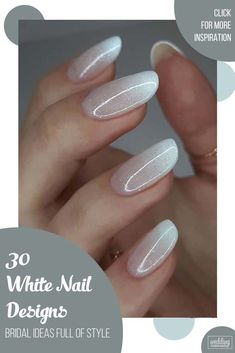 30 White Nail Designs Bridal Ideas Full Of Style ♥ White manicure is timeless and chic. It is one of the best base colors as perfectly highlights the original white nail designs that we collected for you. #wedding #nails #weddingforward #bride #weddingbeauty #whitenaildesigns White Nail Designs, Simple Nail Designs, White Manicure, White Nails, Sophisticated Nails, Wedding Beauty, Diy Food, Wedding Nails, Nails Inspiration