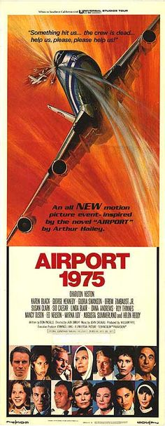 AIRPORT 1975 (1975) is a Cinema Trash Classic with an all star cast on a 747 collides head on with a private plane.Karen Black plays the stewardess who end up flying the plane after the pilots were killed, Joan Crawford was offered the role of the Aging Alcoholic Actress but declined, so the role went to Myrna Loy. The All- Star includes... Charleston Heston,George Kennedy,Gloria Swanson, Linda Blair and Helen Reddy as a nun.