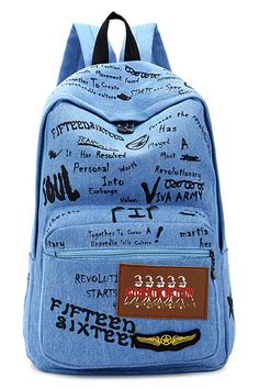 ROMWE | Letter Print Blue Backpack, The Latest Street Fashion