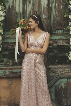 Prepare to wow in this empire-waist bridesmaid dress, adorned entirely in sparkling sequins. The satin piping trim has the dual-function of adding extra luster and ensuring you\'re as comfortable as c Empire Waist Bridesmaid Dresses, Blush Bridesmaid Dresses Long, Bridesmaids, Evening Dresses For Weddings, Wedding Dresses, Marrying My Best Friend, Davids Bridal, Wedding Colors, Sequins