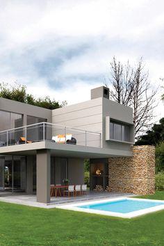 Galería exterior NF Arquitecta #casas #casasmodernas #casasargentinas #arquitectura #argentina #arquitectos #portaldearquitectos Modern Small House Design, Minimalist House Design, Minimalist Home, House Extension Design, Paint Your House, Modern Exterior, Grey Exterior, Modern Mansion, House Entrance