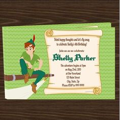 Peter Pan Party Invitations