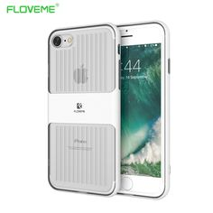 FLOVEME Original Brand Luxury Metal Brushed Bumper + Crystal Clear Silicone Back Case For iPhone 7 iPhone7 Plus iPhone 6 6s