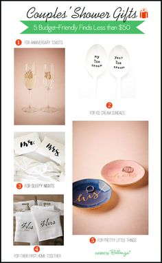 Couples Shower Gifts For Less than $50. Practical Gifts for the Home. Curated Finds by Bellenza.