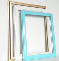 Turquoise Picture Frame Collage Gold Antique White Wall Grouping Beach Home Decor Set of Photo Frames for Wall. $68.00, via Etsy.