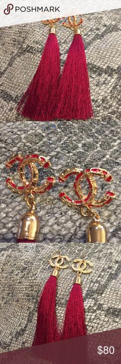 Vintage Chanel bamboo burgundy tassels earrings Vintage Chanel bamboo burgundy tassels earrings I can't read tiny markings on back Vintage Jewelry Earrings