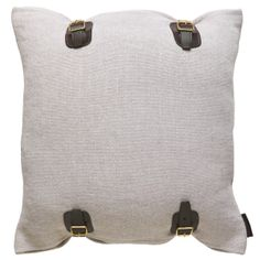 Soft Heavy Linen Cushion 45x45cm with Saddle Leather Buckle detail