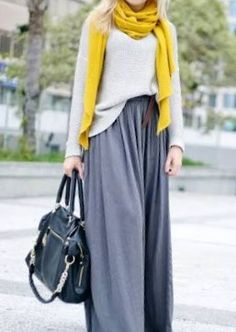 Grey maxi skirt, grey sweater, and yellow shawl
