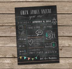Items Similar To One Year Old Stats And In Review Birthday Card Or Poster Printable On Etsy