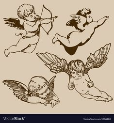 Find Set Various Angels Cupids Isolated stock images in HD and millions of other royalty-free stock photos, illustrations and vectors in the Shutterstock collection. Thousands of new, high-quality pictures added every day. Tatoo Angel, Cupid Tattoo, Bild Tattoos, Body Art Tattoos, Tattoo Skin, Tattoo Hand, Baby Engel Tattoo, Tattoo Sketches, Tattoo Drawings