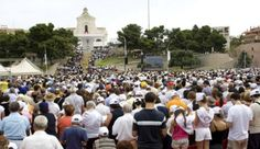 Benedict XVI celebrates Mass in front of the Basilica of Our Lady of Bonaria in 2008 (Photo: CNS)
