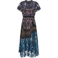 Self-Portrait Prairie Lace Midi Dress ($430) ❤ liked on Polyvore featuring dresses, blue, lacy dress, midi dress, blue dress, calf length dresses and self portrait dress
