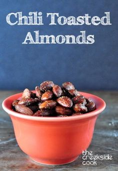 A fast and super easy way to make a delicious snack or appetizer! Chili Toasted Almonds - The Creekside Cook