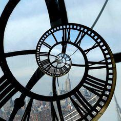 Glass clock spiraling time