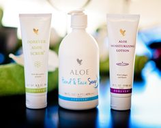 Keep your skin fresh! Aloe Hand & Face Soap Aloe Scrub Aloe Moisturizing Lotion Aloe Vera Products by Forever Living!