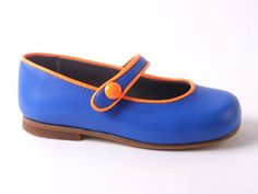 Eli ballerina 2108 blauw met fluo oranje boordje (maat 24-41) // HIPPE EN DUURZAME SCHOENTJES, SLOFJES en TASJES van maat 16 tem 41