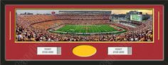 One framed large University of Minnesota stadium panoramic with openings for one or two ticket stubs* and one or two 4 x 6 inch personal photos**, double matted in team colors to 39 x 13.5 in.  The lines show the bottom mat color.  $179.99 @ ArtandMore.com