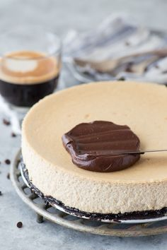 The most amazing espresso cheesecake with an oreo crust and a layer of chocolate ganache! This cheesecake has real espresso in it!