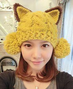 Orejas de gato grande retro del pompón de punto Hat , Bolsos y accesorios