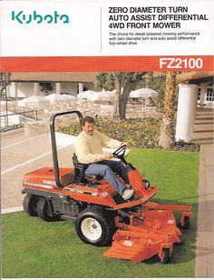 I never owned one of these but it was on my short list for years. The front transmission actually disengaged when zero-turning so it did not tear up the turf. Kubota, Four Wheel Drive, Lawn Care, Lawn Mower, Kos, Tractors, Outdoor Power Equipment, Turning, Diesel