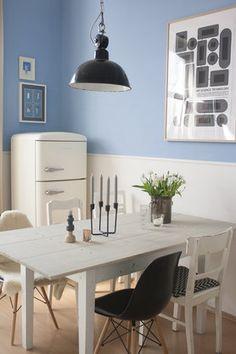 Zweifarbige Wand in der Küche