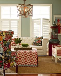 CR Laine, Chang Mai on wing back, spool chair, and claybourne sofa. Gorgeous combo of colors!