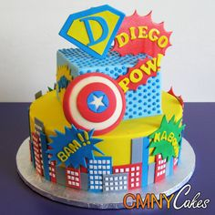 Diego's Superhero Themed Cake - CMNY Cakes I LIKE THIS CAKE MINUS THE DIEGO PART