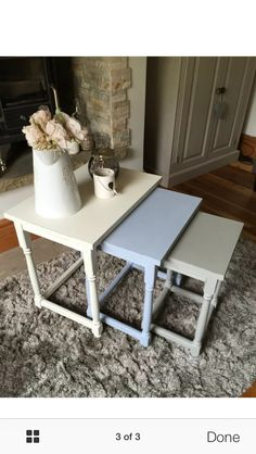 Chalk painted nest of tables Love these colours together Chalk Paint Chairs, Paint Furniture, Furniture Projects, Furniture Makeover, Painted Nesting Tables, Nesting End Tables, Sitting Room Decor, Lounge Decor, Reclaimed Furniture