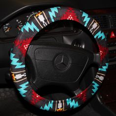 Tribal Steering wheel cover -Turquoise red and gray wheel cover -Aztec wheel cover - Hostess gift idea- women's gift . by SouthernAplus on Etsy