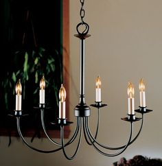 Hubbardton Forge Simple Lines Six Light Chandelier 107060-03-CTO