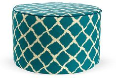 Teal Graphics | Teal Pouf with Graphic Pattern