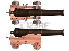 Isolated illustration of an antique ships cannon Stock Illustration