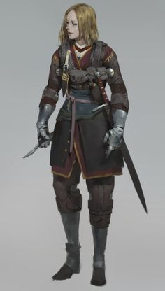 f Ranger leather Sword daggers lwlvl RPG Female Character Portraits Dark Fantasy, Fantasy Armor, Fantasy Women, Medieval Fantasy, Fantasy Character Design, Character Design Inspiration, Character Concept, Character Art, Concept Art