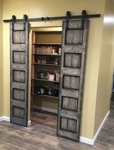 Sliding barn door design ideas for your home with mirror, window. Interior and exterior sliding barn door for your bathroom, bedroom, closet, living room. Rustic Closet, Barn Door Closet, Diy Barn Door, Barn Door Hardware, Barn Doors For Closets, Closet Door Curtains, Sliding Door Closet, Door Alternatives, Sliding Door Design